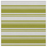 [ Thumbnail: Green and Light Gray Colored Striped Pattern Fabric ]