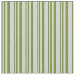 [ Thumbnail: Green and Light Gray Stripes Fabric ]