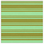 [ Thumbnail: Green and Light Green Colored Stripes Fabric ]