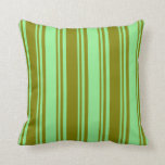[ Thumbnail: Green and Light Green Colored Stripes Throw Pillow ]
