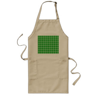 Green and Light Green Gingham Pattern Long Apron