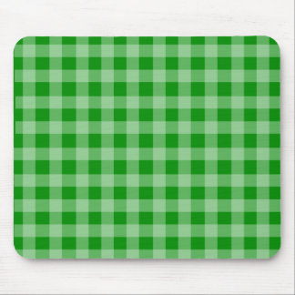 Green and Light Green Gingham Pattern Mouse Pad