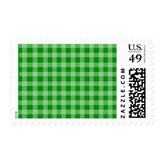 Green and Light Green Gingham Pattern Postage