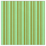[ Thumbnail: Green and Light Green Stripes Pattern Fabric ]