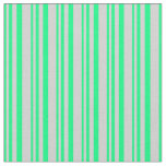 [ Thumbnail: Green and Light Grey Lines/Stripes Pattern Fabric ]