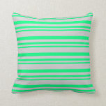 [ Thumbnail: Green and Light Grey Lines/Stripes Pattern Pillow ]