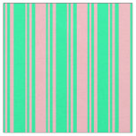 [ Thumbnail: Green and Light Pink Lined Pattern Fabric ]