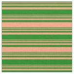 [ Thumbnail: Green and Light Salmon Colored Stripes Fabric ]