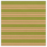 [ Thumbnail: Green and Light Salmon Lines/Stripes Pattern Fabric ]