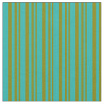 [ Thumbnail: Green and Light Sea Green Colored Stripes Fabric ]