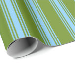 [ Thumbnail: Green and Light Sky Blue Colored Lined Pattern Wrapping Paper ]