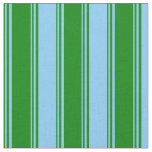 [ Thumbnail: Green and Light Sky Blue Colored Pattern Fabric ]