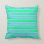 [ Thumbnail: Green and Light Sky Blue Colored Pattern Pillow ]
