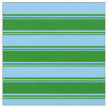 [ Thumbnail: Green and Light Sky Blue Lines/Stripes Pattern Fabric ]
