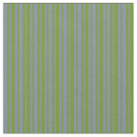 [ Thumbnail: Green and Light Slate Gray Colored Lines Fabric ]