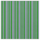 [ Thumbnail: Green and Light Slate Gray Colored Pattern Fabric ]