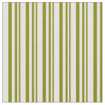 [ Thumbnail: Green and Light Yellow Colored Lined Pattern Fabric ]