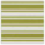 [ Thumbnail: Green and Light Yellow Colored Striped Pattern Fabric ]