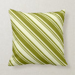 [ Thumbnail: Green and Light Yellow Colored Striped Pattern Throw Pillow ]