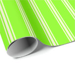 [ Thumbnail: Green and Light Yellow Colored Stripes Wrapping Paper ]