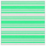 [ Thumbnail: Green and Light Yellow Striped Pattern Fabric ]
