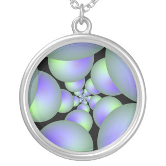 Green and Lilac Sphere Spiral Necklace