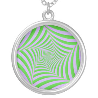 Green and Lilac Spiral Necklace
