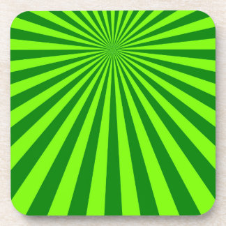 Green and Lime Funky Striped Abstract Art Coaster