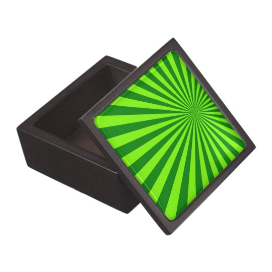 Green and Lime Funky Striped Abstract Art Jewelry Box