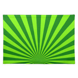 Green and Lime Funky Striped Abstract Art Placemat