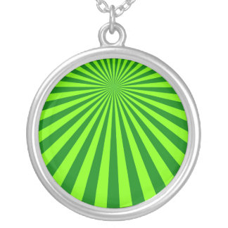 Green and Lime Funky Striped Abstract Art Round Pendant Necklace