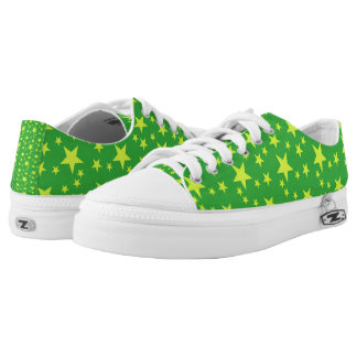 Green and Lime Green Stars Printed Shoes