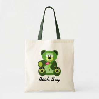 Green and lime green teddy bear book bag