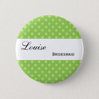 Green and Lime Polka Dots Wedding Collection Pinback Button