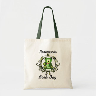 Green and lime teddy bear with a abstract frame tote bag
