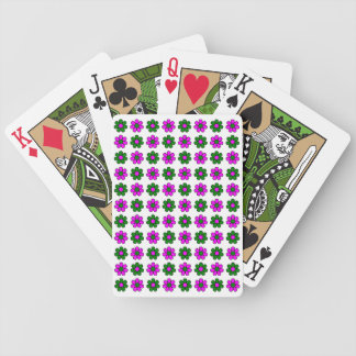 Green and magenta flowers playing cards