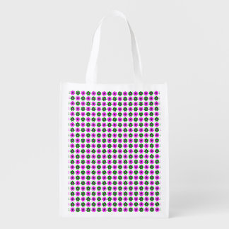 Green and magenta flowers reusable grocery bags