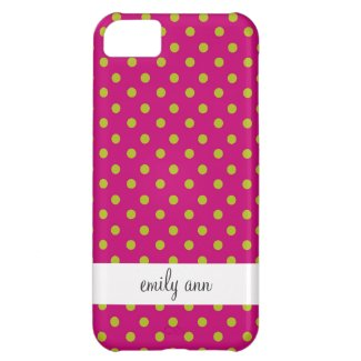 Green and Magenta Polka Dots Pattern iPhone 5C Cover