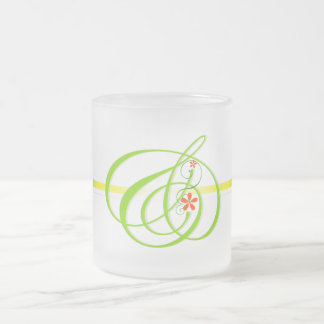 Green and mark leaf frost glass frosted glass coffee mug