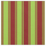 [ Thumbnail: Green and Maroon Colored Stripes/Lines Pattern Fabric ]