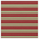 [ Thumbnail: Green and Maroon Colored Stripes Pattern Fabric ]