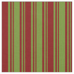 [ Thumbnail: Green and Maroon Striped/Lined Pattern Fabric ]