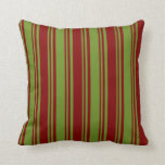 [ Thumbnail: Green and Maroon Striped/Lined Pattern Pillow ]