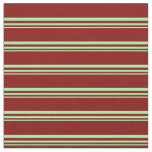 [ Thumbnail: Green and Maroon Stripes/Lines Pattern Fabric ]