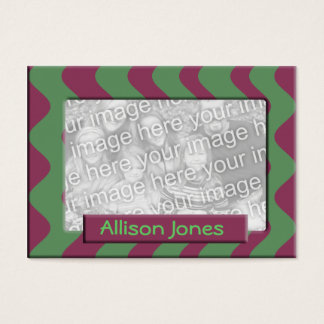 green and mauve photo frame business card