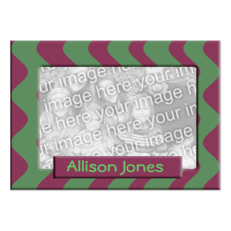 green and mauve photo frame business cards
