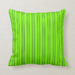 [ Thumbnail: Green and Midnight Blue Colored Lines Throw Pillow ]