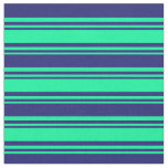 [ Thumbnail: Green and Midnight Blue Lines Fabric ]
