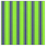 [ Thumbnail: Green and Midnight Blue Lines Pattern Fabric ]