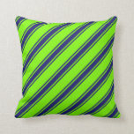[ Thumbnail: Green and Midnight Blue Lines Pattern Throw Pillow ]